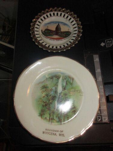 Two Vintage Wisconsin Wis WI Souvenir Trinket Dishes Madisonl Wyocena Yosemite