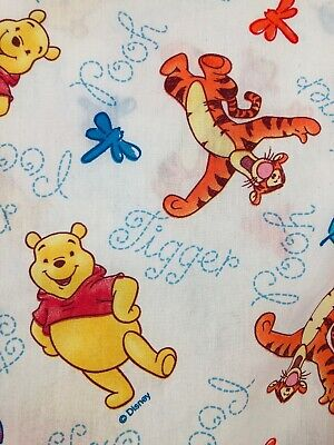 Disney Winnie the Pooh Tigger Dragonfly Twin Bed Flat and Fitted Sheet Vintage