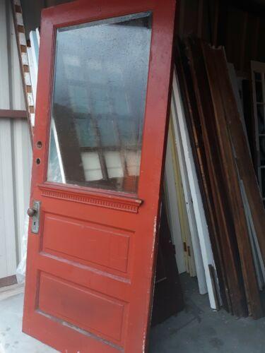 VINTAGE EXTERIOR DOOR SOLID WOOD DOOR WITH BEVELLED GLASS APPROX  36 X 83