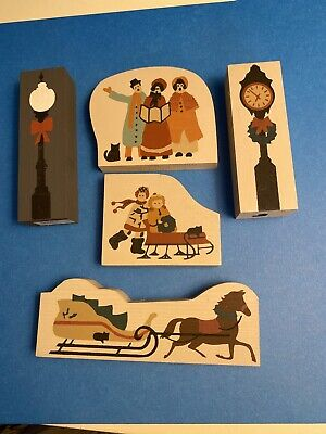 Cat's Meow Christmas accessories - skaters, carolers, clock, lamppost, sleigh