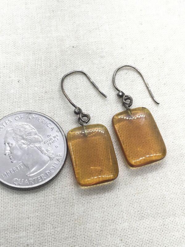 Sterling Silver Vintage Clear Amber Dangle Earrings 4.5g (6-32)