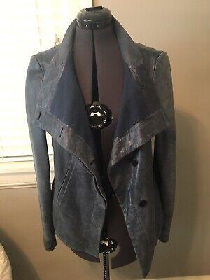 BCBG Blue Navy Leather Jacket Hi Low Cut Size M