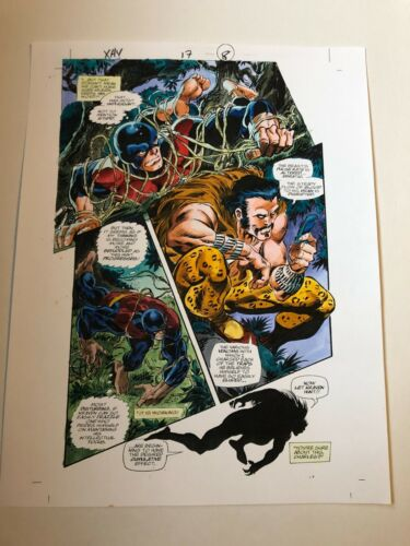 X-MEN HIDDEN YEARS #17 ART color guide BYRNE KRAVEN hunting BEAST 2001 MARVEL