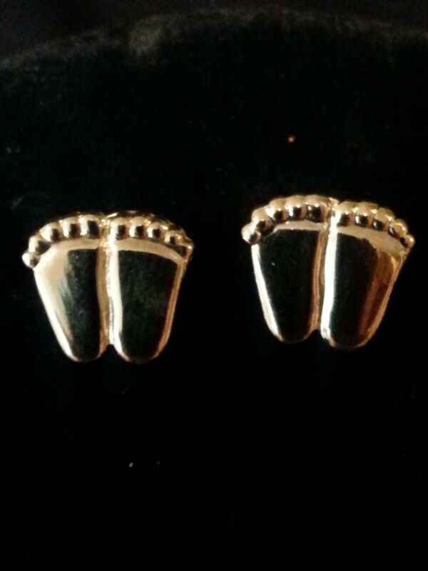 ProLife Support PRECIOUS FEET POST EARRINGS Gold Tone
