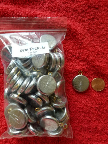 50 PCS ROUND FLAT COIN RIVER SINKERS 1 OZ