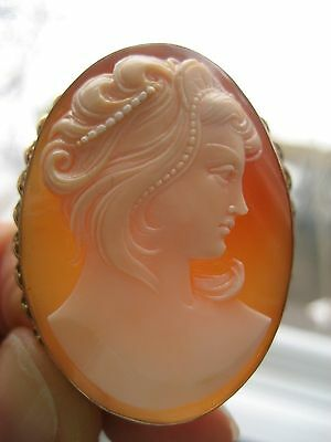 Fine Vintage 14k Yellow Gold Carved Cameo Artist Signed Pendant / Brooch Italy