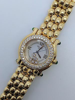 Chopard Happy Sport 276151-0005 Watch 18K Gold With Diamond & Emerald 4142