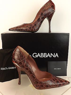 NIB DOLCE & GABBANA BURGUNDY NATURAL CROCODILE LEATHER POINTED TOE PUMPS 39