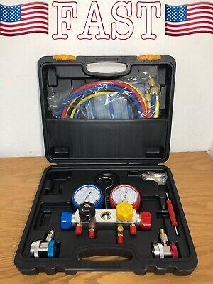AURELIO TECH 4 Way A/C Manifold Gauge Set Fits R134A R410A and R22 Refrigerants