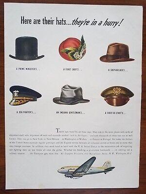 1943 Air Transport WW2 Hats Airplane Navy Army Art Vintage Print Ad Decor Large!