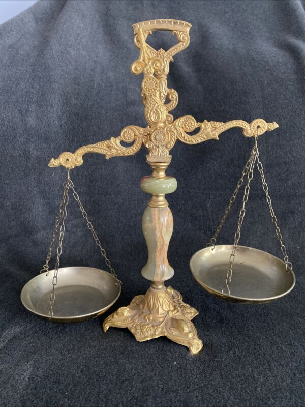 Antique  Italian Brass and Marble Scales Of Justice. . Law Office.