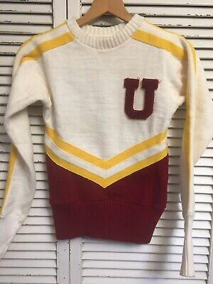 50s vintage cheerleader sweater long sleeved green and gold BH 36