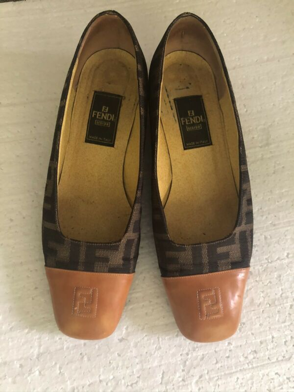 FENDI Zucca Vintage Pumps Shoes Women's 36.5. US 6.5 Made In Italy