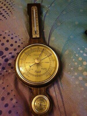 Vintage HUGER ships aneroid Royal wall Weather Station Barometer