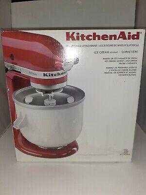 KitchenAid KICA0WH Stand Mixer Ice Cream Maker Attachment White - 2 qt