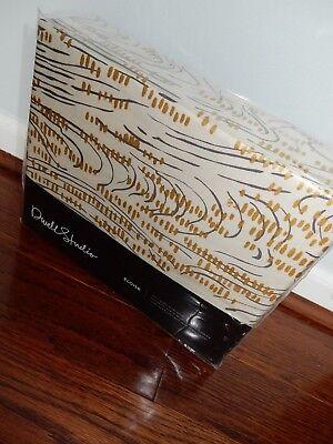 New DWELL STUDIO Eloise QUEEN DUVET COVER Metallic Gold BRUSH STROKE