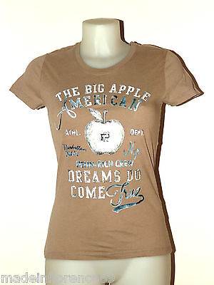 SCONTO 30% PENN-RICH by WOOLRICH T SHIRT DONNA COTONE Tg XS S STAMPA AMERICA