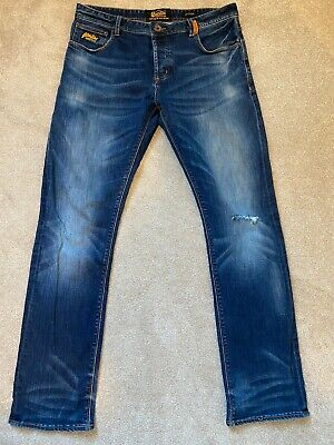 SUPERDRY Men's Officer Jeans 36W - 34L Copper Denim Classics L3