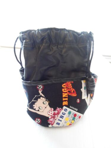 BETTY BOOP BINGO BAG, DRAWSTRING & MARKER POCKETS,LEATHER & CLOTH