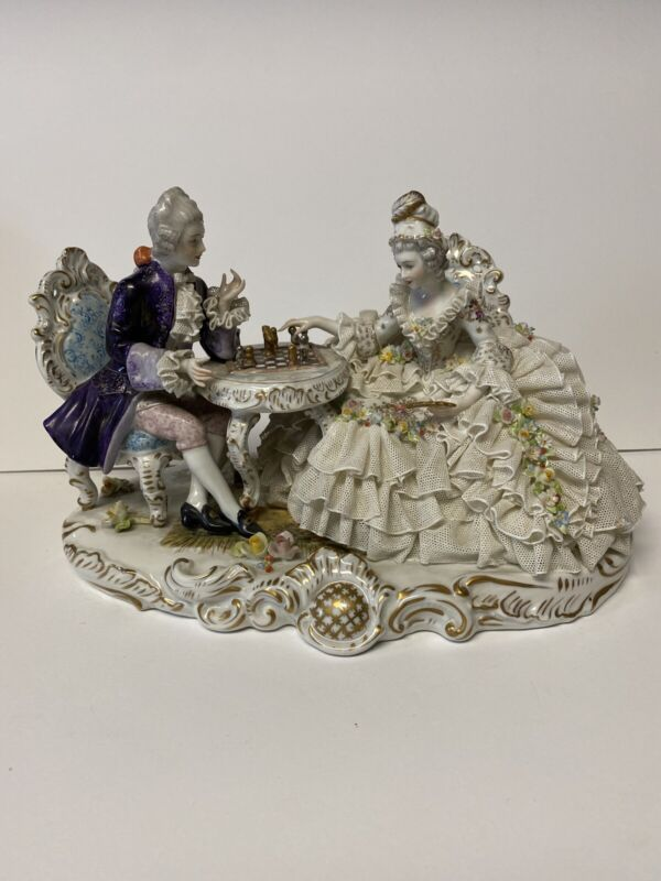 Vintage Dresden Lace Capodimonte Figurine Playing Chess