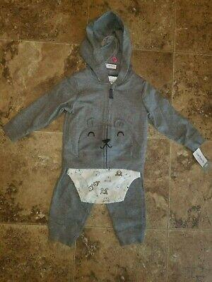Nwt Baby Boys Carter's 3 Piece Pants Shirt Hoodie Set Bear Gray 18M 18 Months ()