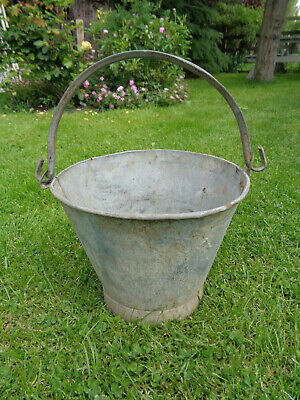 Vintage Tin Bucket with Hooped Handle. Ideal Planter. Watertight.