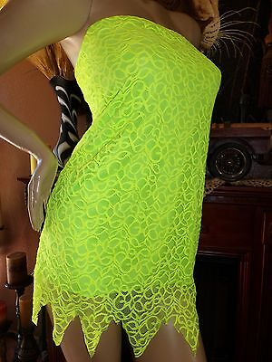 Never-land Tink Fairy Tinkerbell Dress~Sexy soft green lace Halloween Costume~~