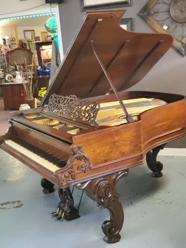 George Steck Rococo Victorian Carved Baby Grand Piano In Brazilian Rosewood