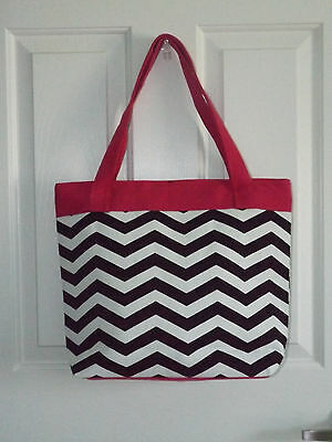 te chevron print hot pink trim handbag tote purse NWOT (Hot Pink Chevron)