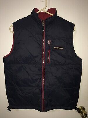 EUC Vintage Abercrombie & Fitch Duck Down Reversible Puffer Vest Red Blue Sz L