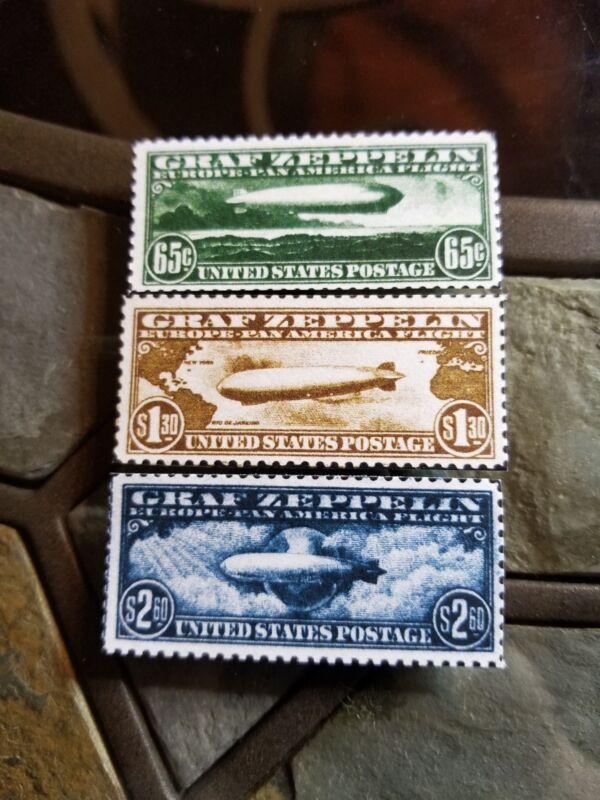 Us Stamps # C13 C14 C15 Usa Graf Zeppelin Air Mail Set (facsimile)