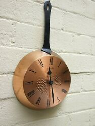 Vintage German Mauthe Electric Copper Frypan Wall Clock  Kitchen Clock 70's