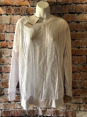 Fabletics Sophie Tunic Top Size M Long Lace Crochet Mesh Pullover White NWT*