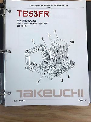 Takeuchi Tb53fr Parts Manual Sn 15810005 - 15811324 Free Priority Shipping