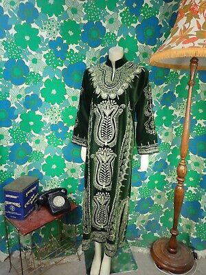 AG52 Vintage Indian Green Velvet Dress Kaftan Gold Size 12 14