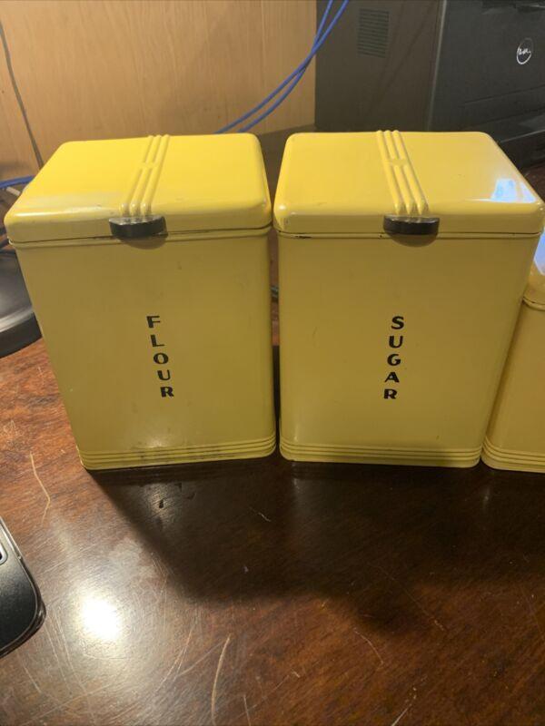Vintage Kreamer Canisters Set Tin Flour Sugar Tea Coffee Yellow