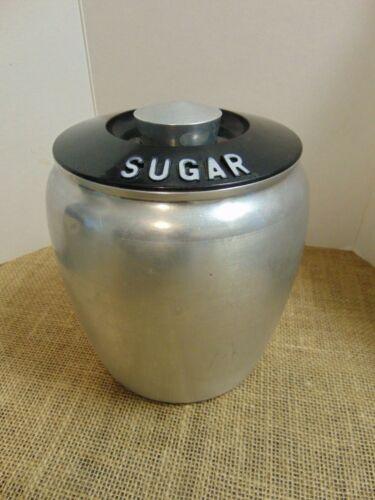 Kromex Spun Brushed Aluminum Sugar Metal Canister Kitchen Storage Vintage MCM