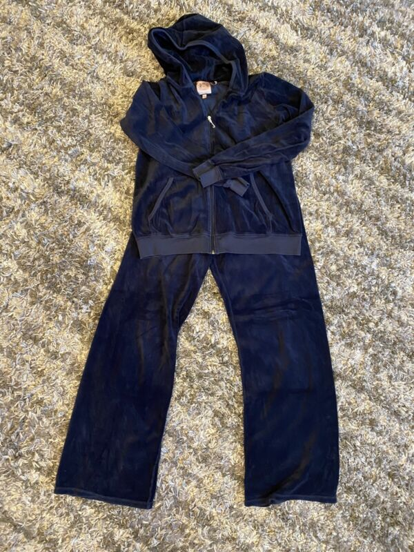 🔥JUICY COUTURE Velour Navy Blue Maternity HOODIE & PANTS M🌎