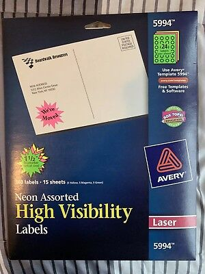 """Avery High Visibility Burst Laser Labels 1 1/2"""" dia Assorted Neon Colors 360"""
