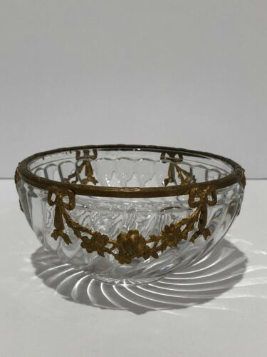 BACCARAT ANTIQUE BAMBOO PATTERN BOWL WITH GOLD ORMOLU ORNATE DETAIL