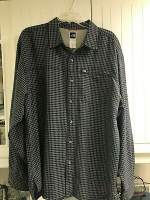 The North Face Men's Navy/Bone Plaid Button Roll Up Sleeve Hiking Shirt - XL EUC