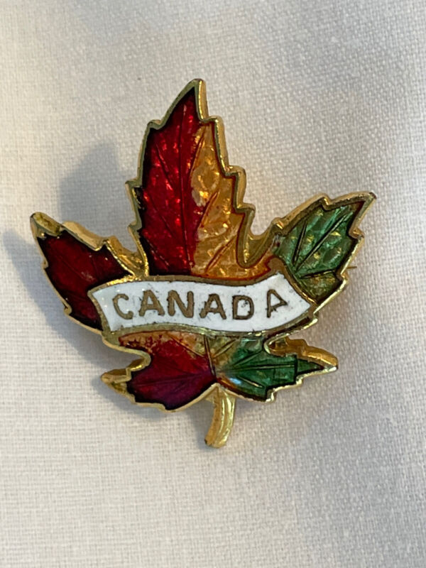 Vintage Canada Colorful Fall Maple Leaf Collectible Travel Pinback Lapel Pin