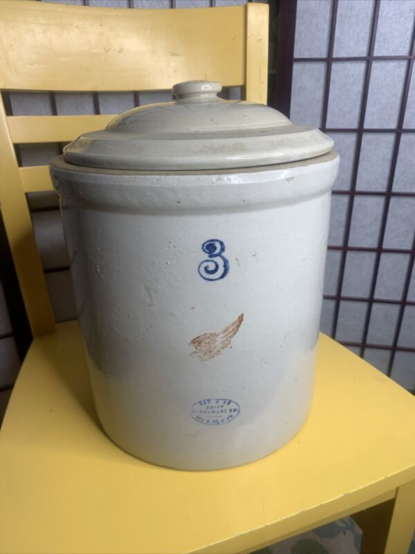 Antique Red Wing Union Stoneware 3 gallon crock with lid small crack on back