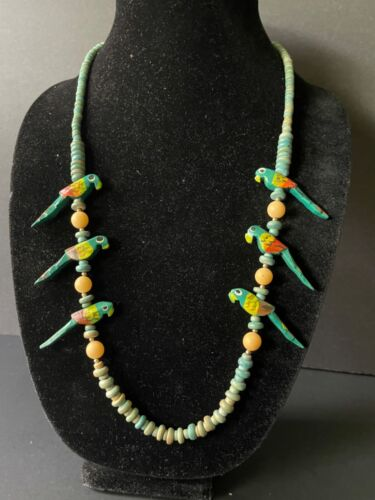 Vintage painted wooden tropical bird and bead necklace with barrel clasp