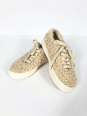 Zara Girls Sneakers Fuzzy Wooly Natural Cream SZ 32 US 13