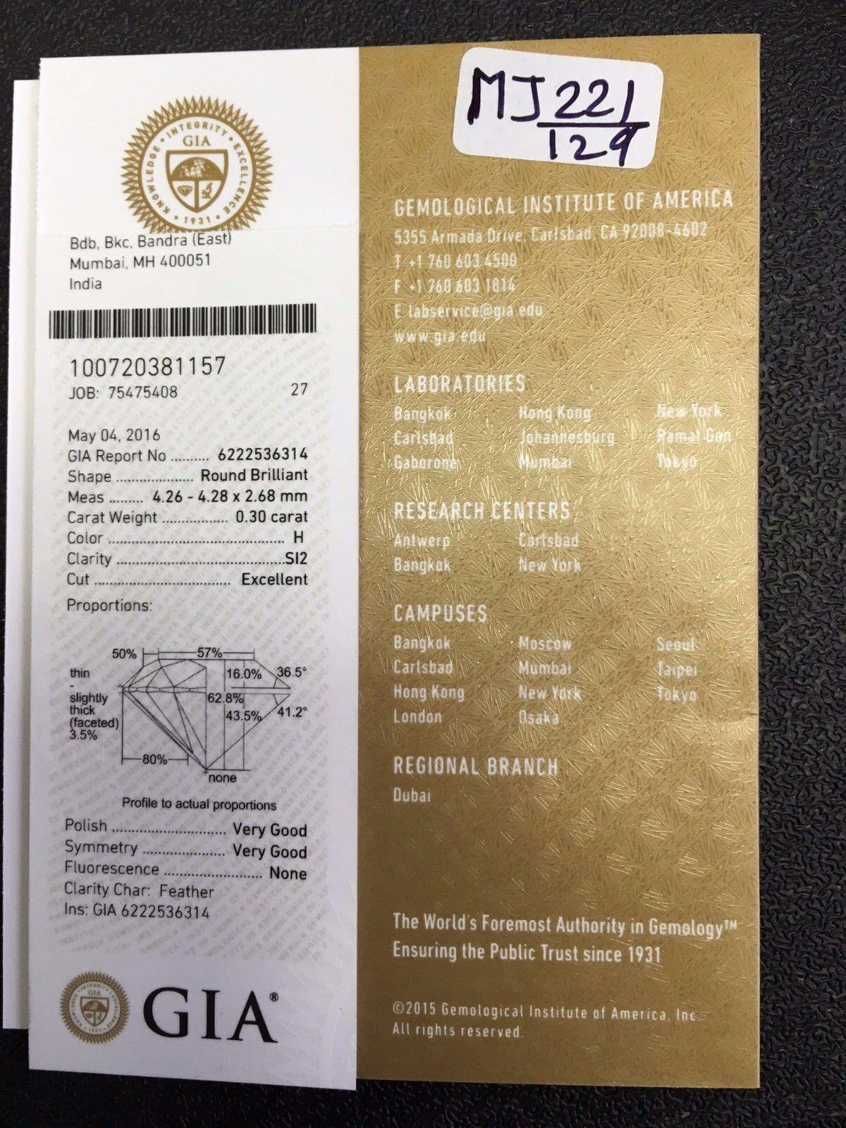 Gia Certified 0.30 Ct Carat H SI2 Loose Natural Beautiful Diamond with Appraisal