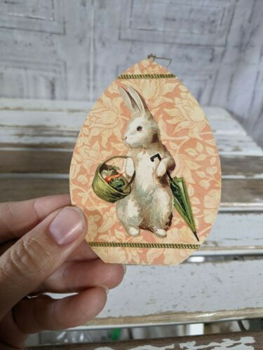 Easter bunny egg cardboard vintage ornament