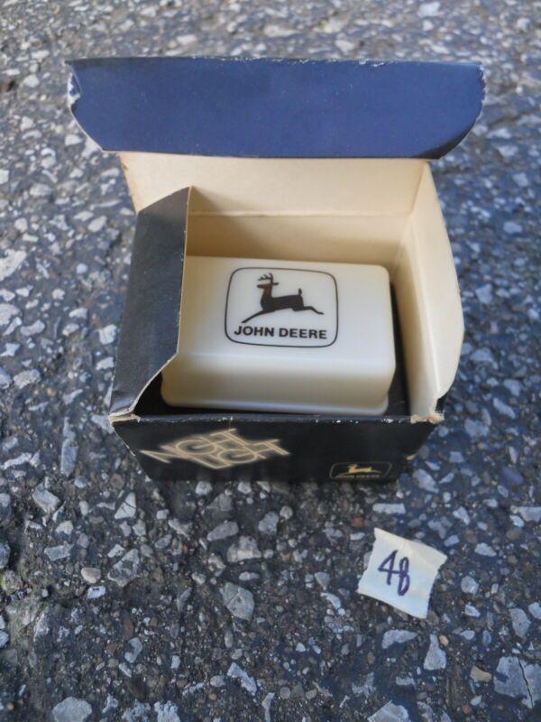 Vintage Working John Deere Night Light white plastic plug in black JD logo w box