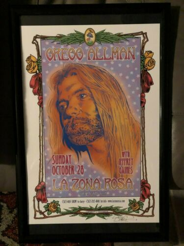 allman brothers  gregg allman poster framed signed by artist