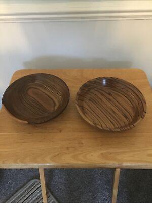 Pair Of Hand Turned Wooden Bowls 19.5cm Diam Superb 4.5cm Deep